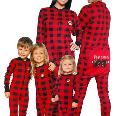 Bear Cheeks Lazy One Adult Red Black Plaid Flapjack Family Matching Pajamas