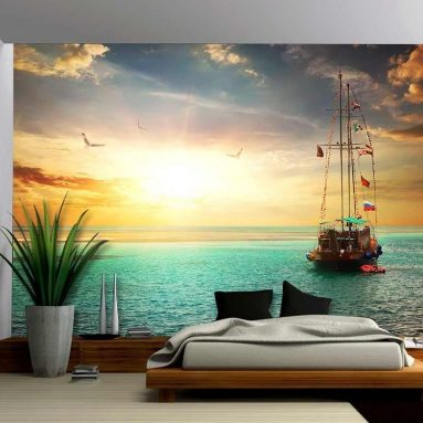 Beautiful Sunset over Yacht in the Sea – Removable Wall Mural