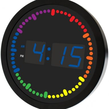 Big Digital LED Clock with Rainbow Color