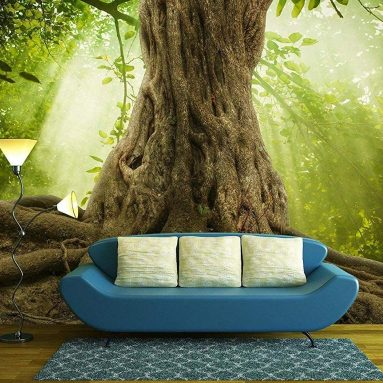 Big Tree Roots and Sunshine in a Green Forest – Removable Wall Mural