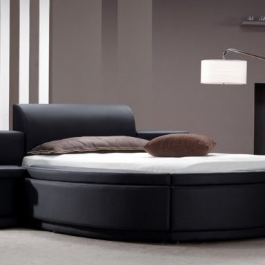 Black Leather Round Bed with Storage