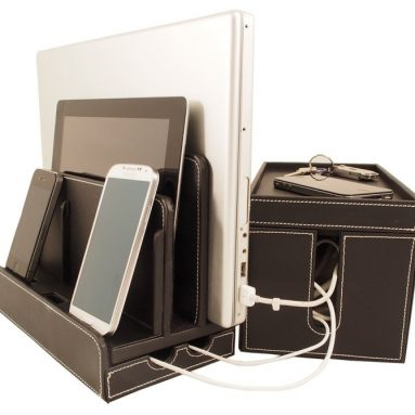 Leatherette Multi-Charger and Cord Cubby Combo