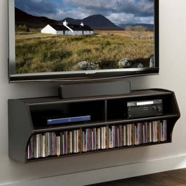 Black Wall Mounted A/V Console