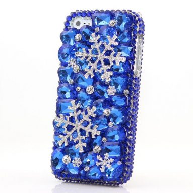 Crystals Blue Snow Design Hybrid Protective Cover for iPhone 7 Plus