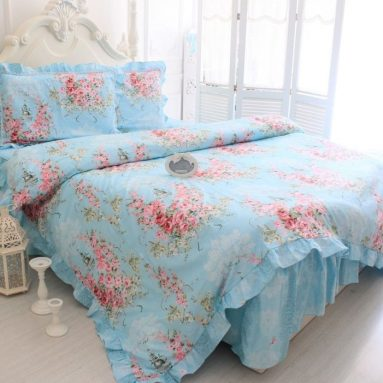 Blue Rose Print Bedding Sets Romantic Rose Duvet Cover Set