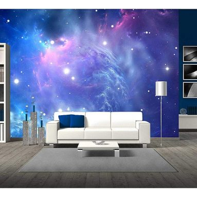 Blue Space Nebula – Removable Wall Mural