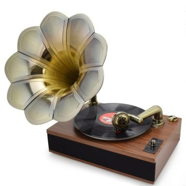 Bluetooth 3-Speed Stereo Turntable with Classic Horn Phonograph