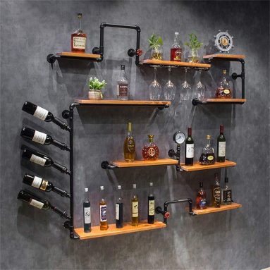 Cabinet Wood Wine Bottles and Glasses Holder