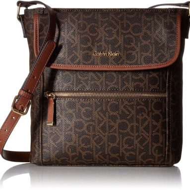 Calvin Klein Hudson Monogram Crossbody, Brown/Khaki/Luggage Saffiano