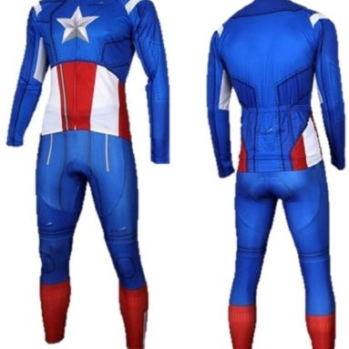 Captain America Costume long-Sleeve Biking Cycling Jersey