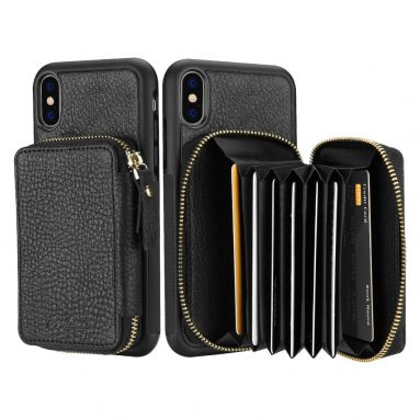 Case for iPhone XS Max, Genuine Leather Protective Case Cover with Wallet Card Holder