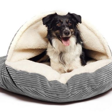 Cave Hamburger Pet Bed with Sherpa Interior & Plush Fur Interior