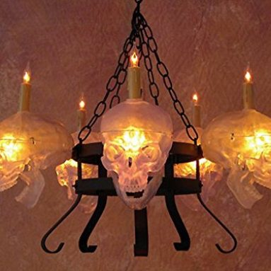 Chandelier with Five Clear Skulls