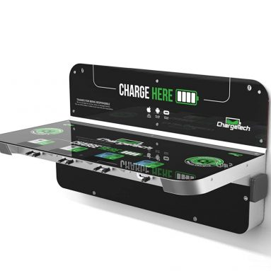ChargeTech Wall Mounted Power Shelf Charging Station w/ 8 High Speed Cables for All Devices