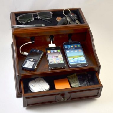 Charging Station Mahogany Wood Finish