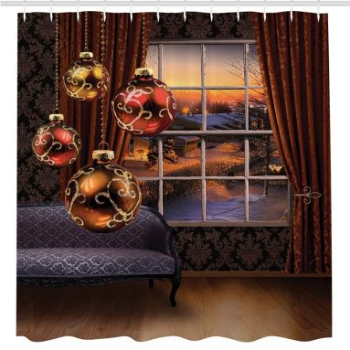 Christmas Balls Hanging front of Window View Snowy Street Holiday Season House Decor