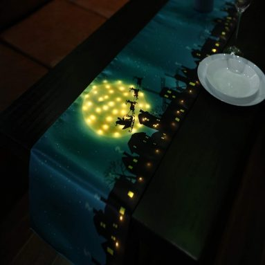 Christmas Table Runner LED Light Battery Operated Cotton
