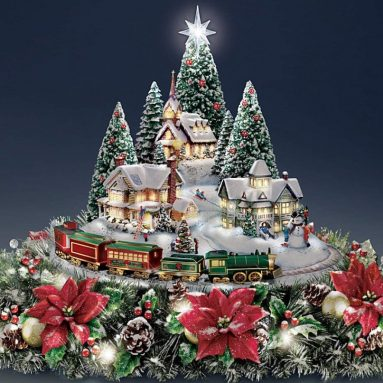 Christmas Village Floral Centerpiece with Lights Music and Motion