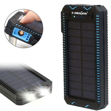 Cigarette lighter Solar Waterproof Portable Power Bank Battery Charger