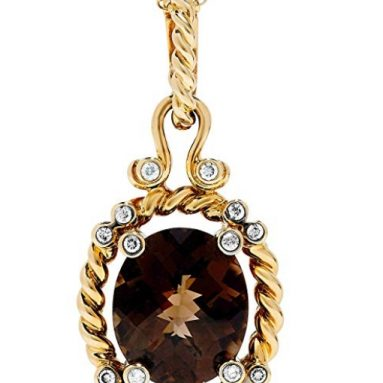 18k Heavy Yellow Gold Smoky Quartz and Diamond Rope Pendant Necklace