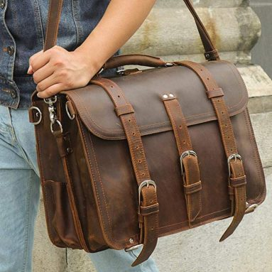 "Men's Full Grain Leather 16"" Briefcase Shoulder Messenger Bag Fit 15.6"" Laptop"