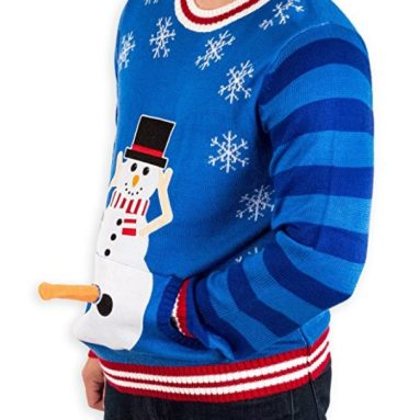 Men's Excited Snowman Ugly Funny Christmas Sweater
