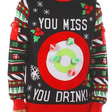 Tipsy Elves Men's Drinking Game Ugly Christmas Sweater