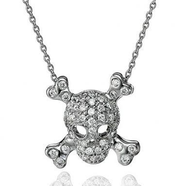 18k White Gold Skull and Crossbones Pendant Necklace