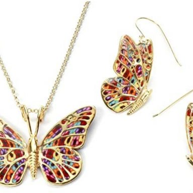 Gold Plated 925 Silver Butterfly Necklace and Dangle Earring Set