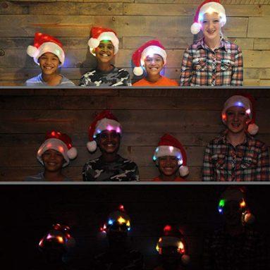 Novelty Funny Santa Hat with 20 Blinking Color-Changing Light up LED Lights
