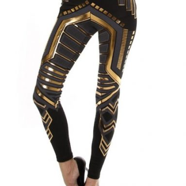 Gold Digital Printed Fold Over Waist Tight Fit Leggings