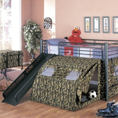 Coaster Kid's GI Child Bunk Bed with Slide and Tent