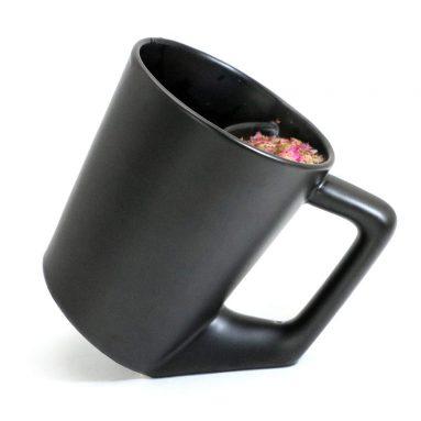 Cool Tea Cup with Infuser Black Ceramic Simple Tea