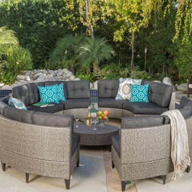 Currituck Outdoor Wicker Patio Furniture 10 Piece Black Circular Sofa Set with Water Resistant Cushions