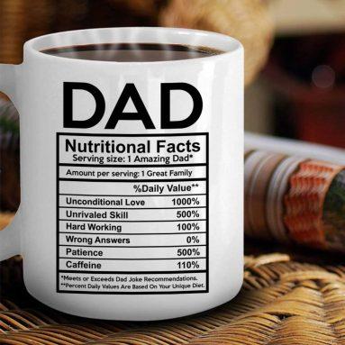 Dad Nutritional Facts Label Coffee Mug