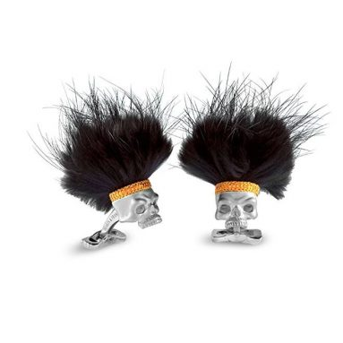 Silver Cufflinks With Black Hair