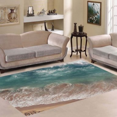 Decor Beach Sea and Ocean Wave Area Rug Carpet 7'x5′ For Living Room Bedroom