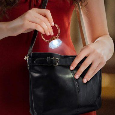 Diamond Ring Handbag Hook with LED Light