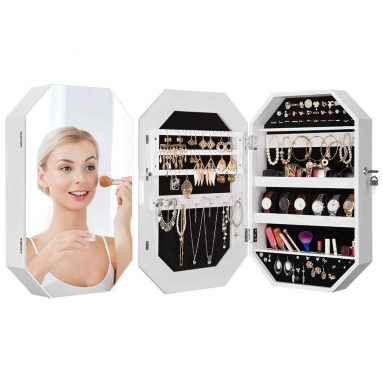 Diamond-Shaped Jewelry Cabinet with Frameless Full-Size Mirror