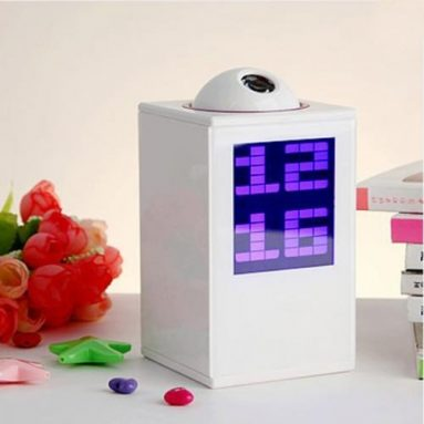 Digital LED Laser Projector Projection Alarm Clock White