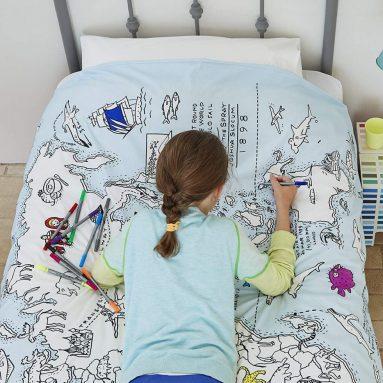 Doodle World Map Duvet Cover