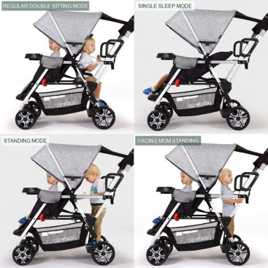 Double Stroller lux Sit N Stand Baby Pushchair Tandem