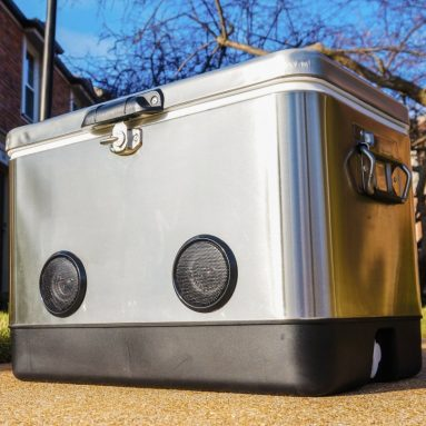 Double-Walled Stainless Steel Party Cooler with High-Powered Tailgating Bluetooth Speakers