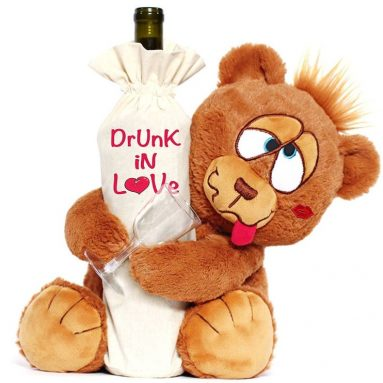 Drunk In Love Valentines Day Teddy Bear With Wine Bag