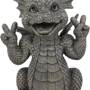 Ebros Whimsical Garden Dragon with Hippie Peace