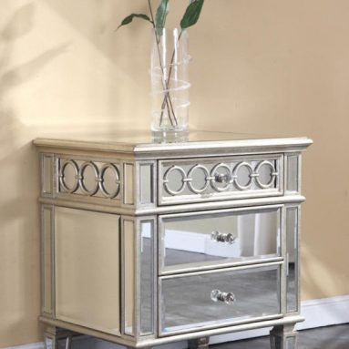 Mirrored Night Stand End Table in Silver Leaf Finish