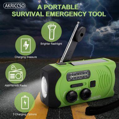 Emergency Solar Hand Crank Portable Radio, Self Powered NOAA Weather Radio for Emergency