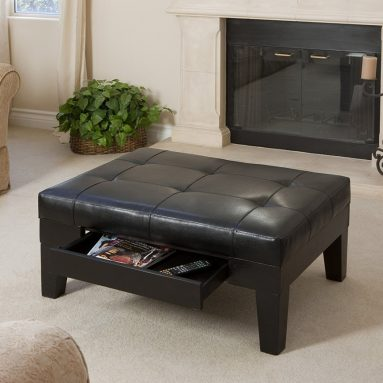 Espresso Leather Tufted Top Coffee Table