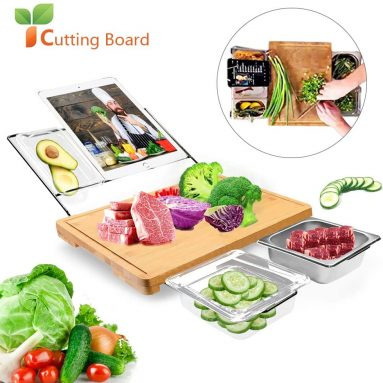 Extensible Bamboo Cutting Board with 5 Containers Tray