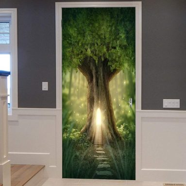 Fairy Tree Print Eco-Friendly Vinyl Room Door Decals Wallpaper